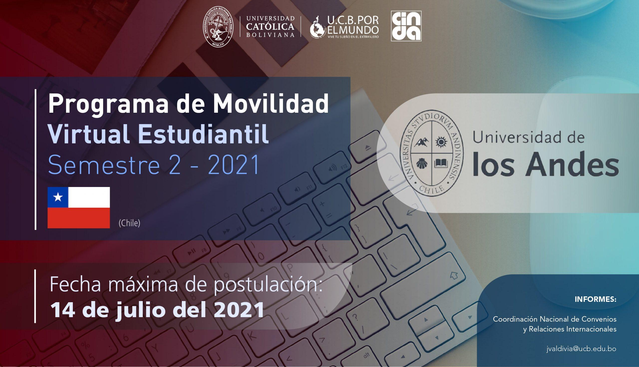 La Universidad de Los Andes de Chile es parte del Programa de Movilidad Virtual Estudiantil UCB por el Mundo.